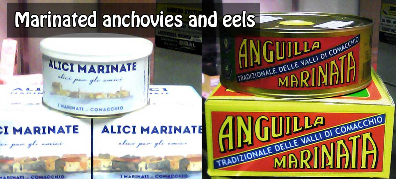 Marinated anchovies and eels